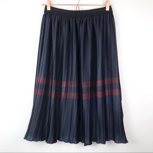 Zara Basic Navy Accordion Pleat Midi Stripe Skirt